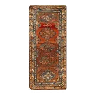 Rust Fine Hand Knotted Antique Azarbijan Kazak Runner 3'2'' X 8'2 For Sale