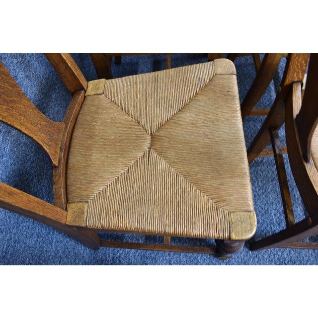 Vintage Tiger Oak Fiddle Back Chairs- Set of 6 For Sale - Image 9 of 11