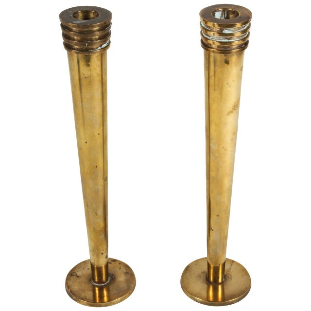 Hudson Rissman Brass Candlesticks - A Pair - Image 1 of 5