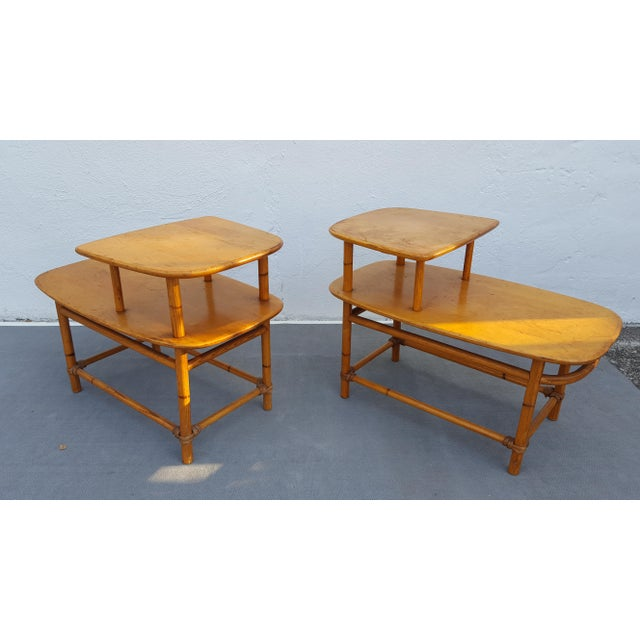 Heywood - Wakefield Two Tier Side Tables a Pair For Sale - Image 5 of 13