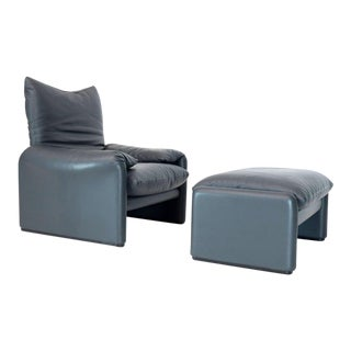 Maralunga Vico Magistretti Cassina Leather Lounge and Matching Ottoman For Sale