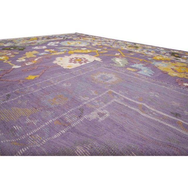 Geometric Oushak High and Low Texture Rug- 10′5″ × 13′2″ For Sale - Image 4 of 10