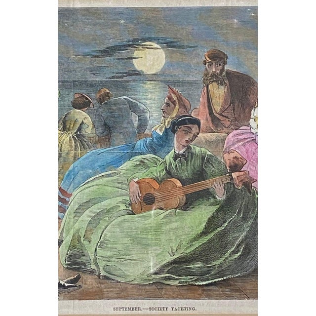 """1861 """"September—Society Yachting"""" Hand Colored Print, Framed For Sale - Image 4 of 9"""