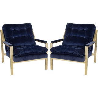 """Worlds Away Navy Velvet """"Cameron"""" Lounge Arm Chairs With Gold Leafed Metal Frames – a Pair"""