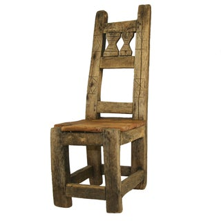 Antique Primitive Hand-Carved Chair Low Chair
