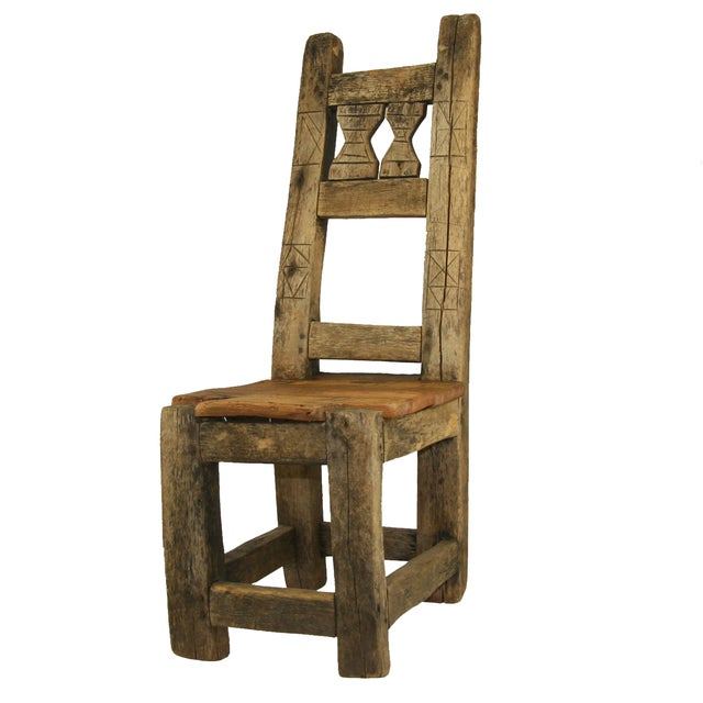Antique Primitive Hand-Carved Chair Low Chair - Image 1 of 5