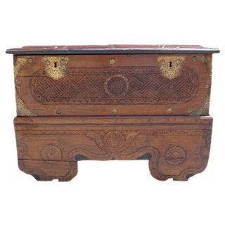 Moroccan Antique Carved Trunk For Sale