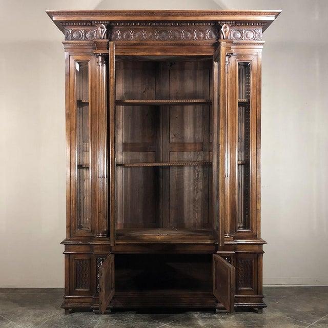 Late 19th Century Grand 19th Century Italian Walnut Neoclassical Bookcase For Sale - Image 5 of 13