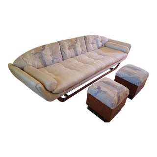 Mid-Century Modern Couch With Walnut Base & Footstools, 3 Pieces For Sale