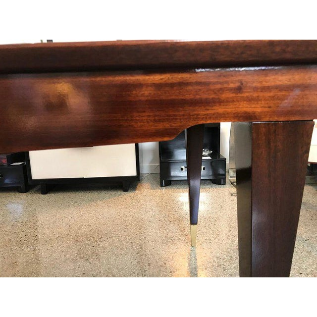 Brown Mid-Century Modern Dining Room Table Lacquered Extension Leaves For Sale - Image 8 of 12