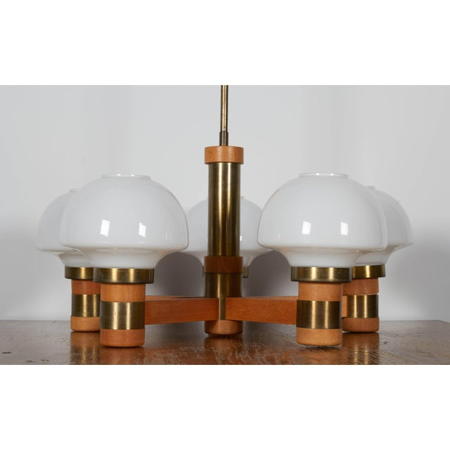 Mid-Century Teak and Brass Five-Light Chandelier For Sale - Image 4 of 8