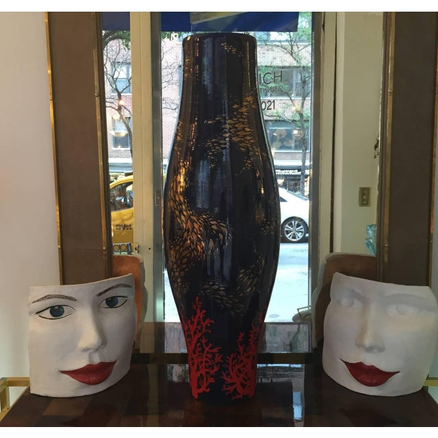 """Giovanni Ginestroni """"Red Lips Face"""" Terra Cotta Sculpture by Ginestroni For Sale - Image 4 of 5"""