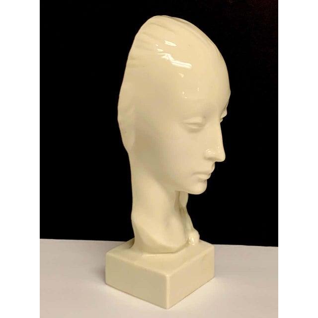 Art Deco Geza De Vegh for Lenox Art Deco Portrait Bust of a Woman Sculpture For Sale - Image 3 of 13