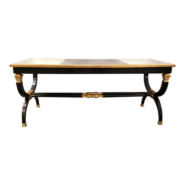 Transitional Lillian August for Hickory White Black and Gold Ziecel Writing Desk For Sale