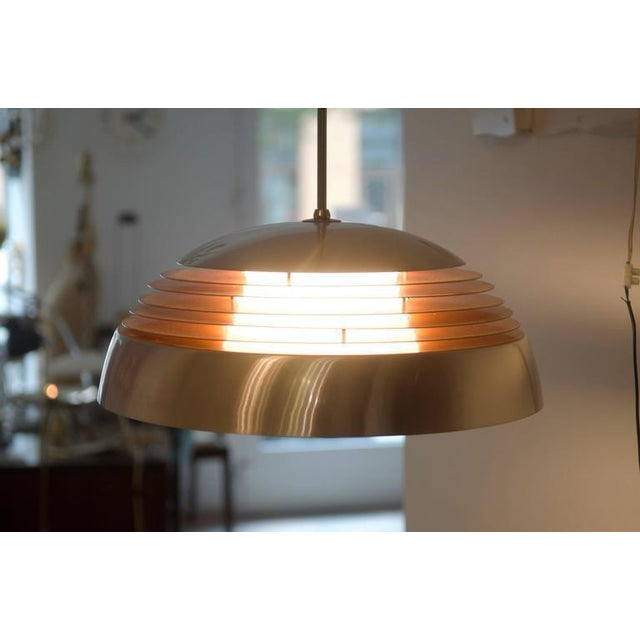 Gold Aluminum hanging lamp, 1970s For Sale - Image 8 of 10