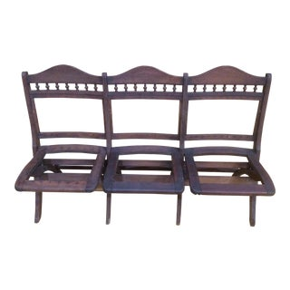 20th Century Americana Wooden 3-Seat Stadium Style Folding Chair For Sale
