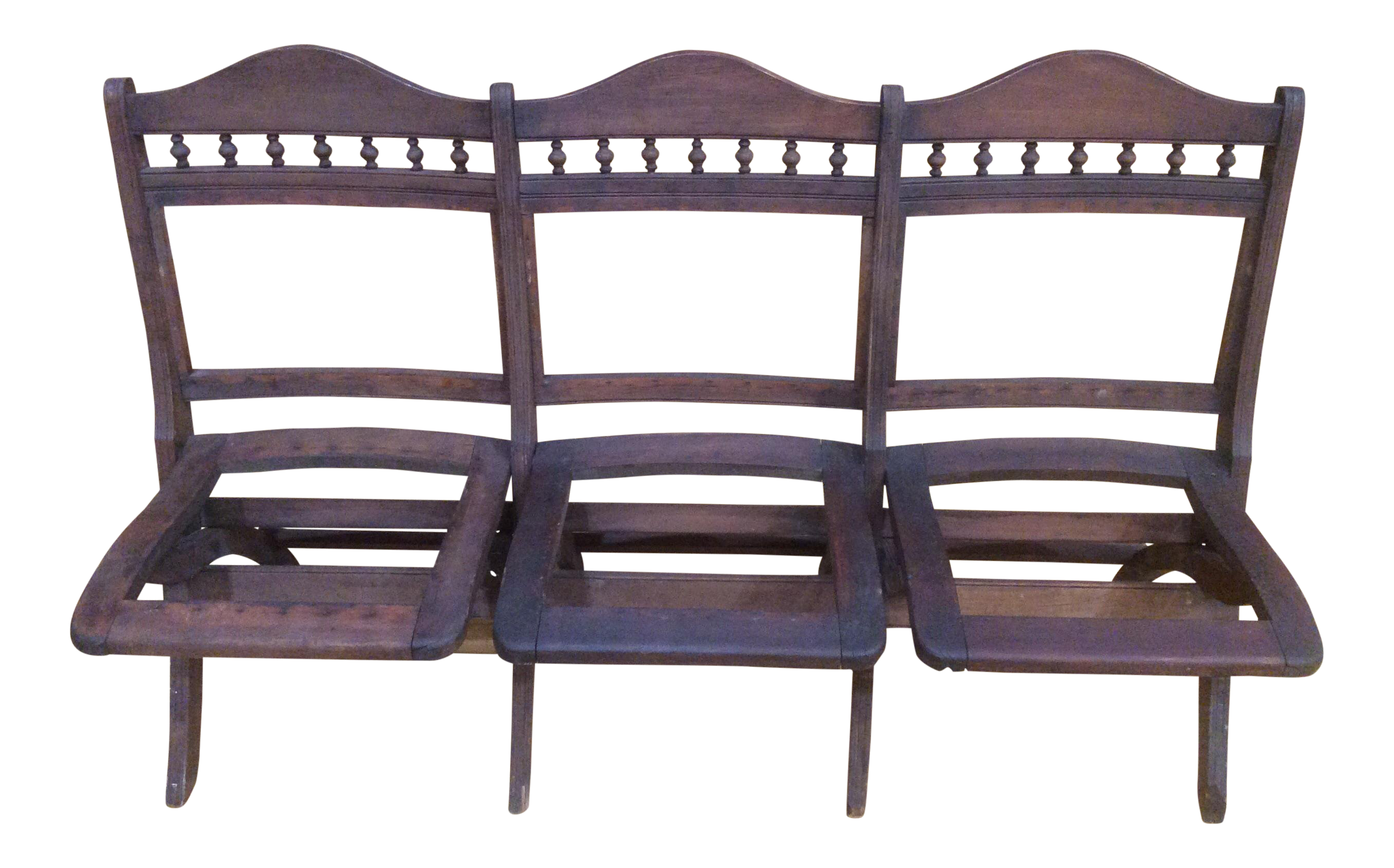 20th Century Americana Wooden 3 Seat Stadium Style Folding Chair