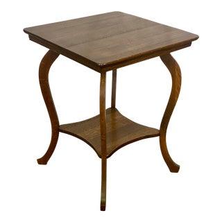 Antique Rustic Farmhouse Tiger Oak Side Table For Sale