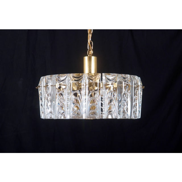 Danish Midcentury Glass, Brass Chandelier by Vitrika For Sale - Image 4 of 11