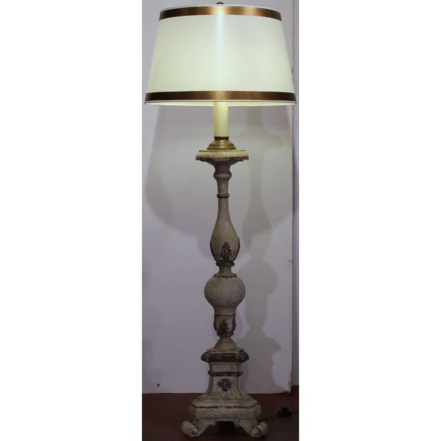 18th Century Italian Carved Painted Altar Stick Floor Lamps - A Pair - Image 9 of 9