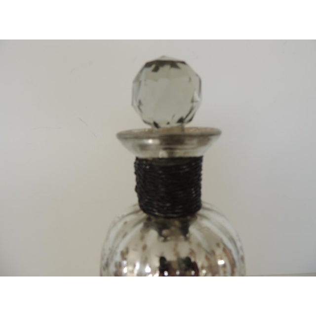 Boho Chic Round Mercury Glass Decanter With Cut Glass Design Stopper and Wire Detail on the Neck. For Sale - Image 3 of 5