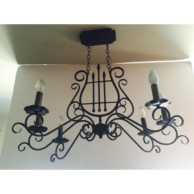 Arts & Crafts Mediterranean-Style Metal Harp Chandelier For Sale - Image 3 of 6