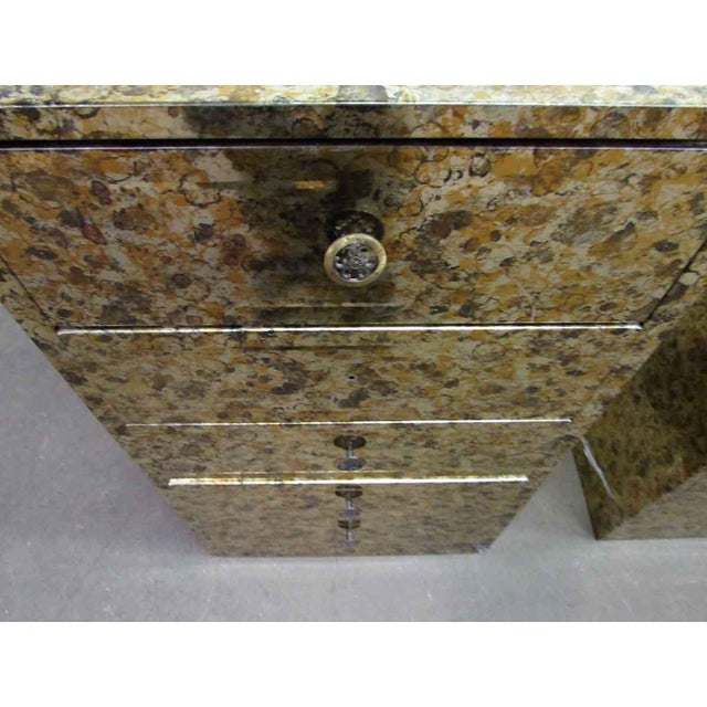 Metal Pair of Petite Metal Five Drawer Cabinets For Sale - Image 7 of 8
