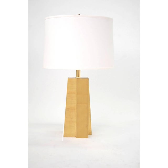 Paul Evans Pair of Faceted Brass Table Lamps For Sale - Image 4 of 4