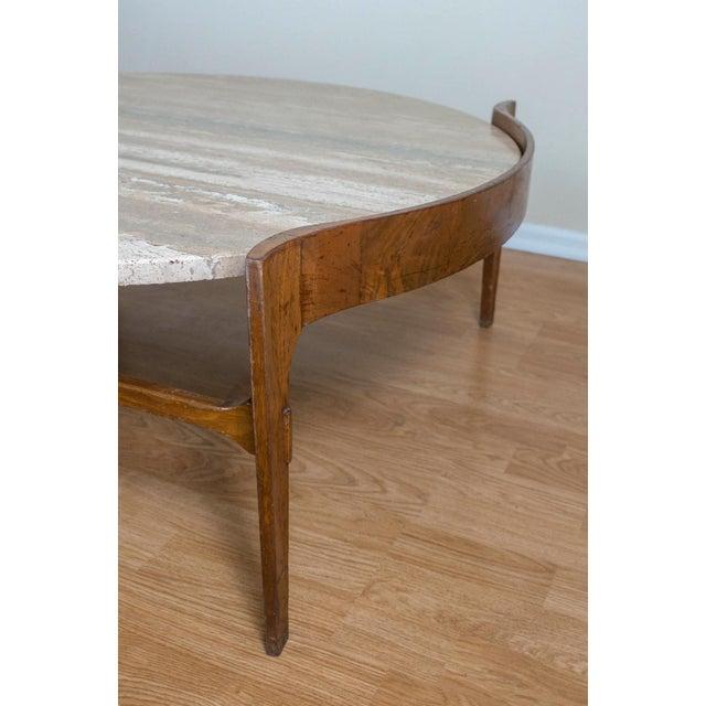 Bertha Schaefer Travertine & Walnut Coffee Table For Sale - Image 10 of 12
