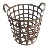 Image of Early 20th Century American Industrial Woven Metal Basket For Sale