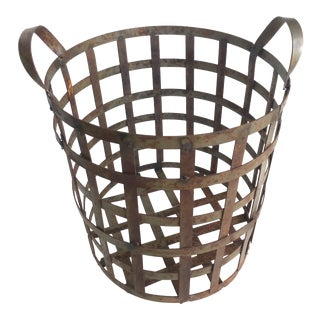 Early 20th Century American Industrial Woven Metal Basket For Sale