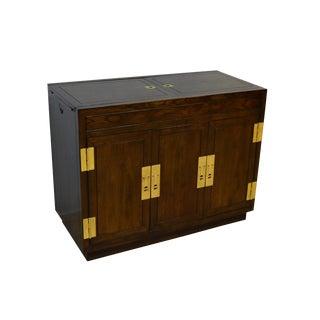20th Century Campaign Henredon Oak Server For Sale