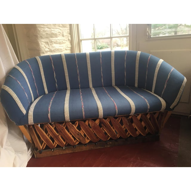 Vintage Mexican Upholstered Equipale Sofa - Image 2 of 4