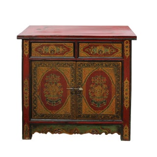 Chinese Distressed Red Yellow Tibetan Treasure Graphic Table Cabinet For Sale