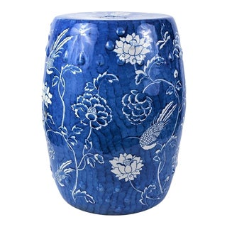 Chinoiserie Blue Brushstoke Blossom and Swallow Stoneware Garden Stool For Sale