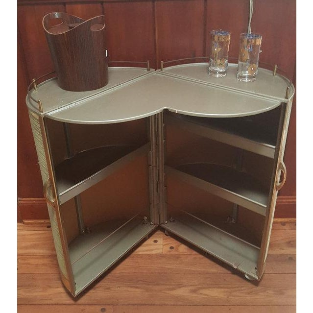 Vintage 50s Portable Round Bar Cart For Sale - Image 4 of 6