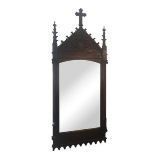 19th Century Gothic Chestnut Church Mirror