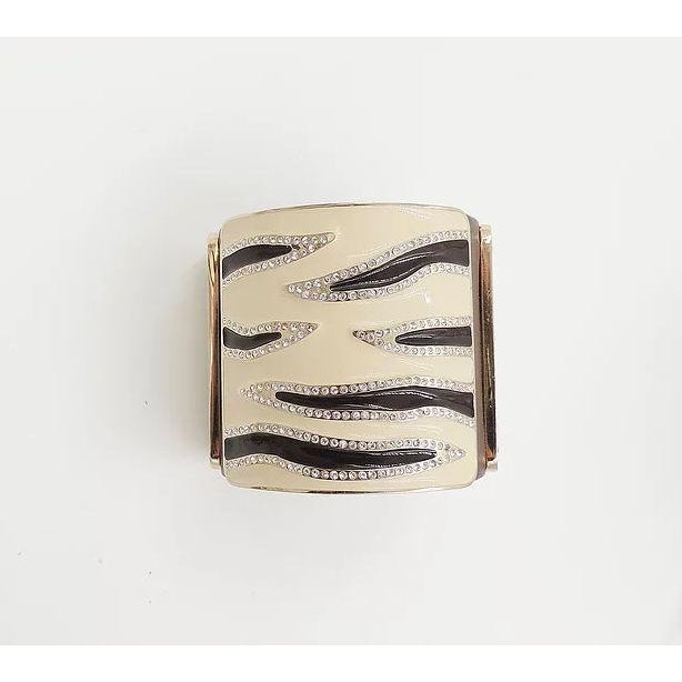 Modern Valentino Leather & Enamel Zebra Stripe Rhinestone Cuff Bracelet For Sale - Image 3 of 12