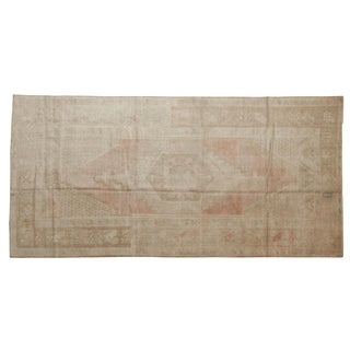 "Vintage Distressed Oushak Rug Runner - 4'3"" X 8'8"" For Sale"