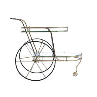 Italian Brass Bar Cart For Sale