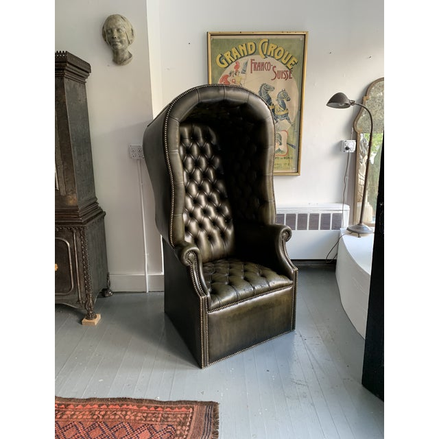Green Leather Porters Chair For Sale - Image 8 of 11