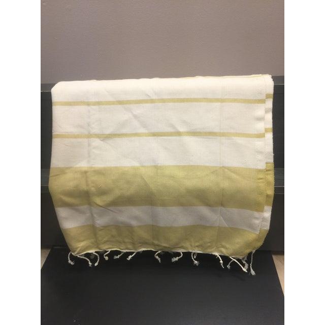 Fiber Turkish Mustard Striped Bath Towel For Sale - Image 7 of 8