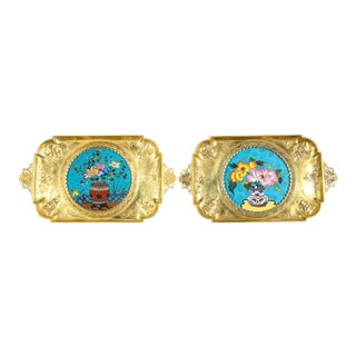 French Japonisme Bronze & Cloisonne Enamel Trays Attributed Lievre - a Pair For Sale