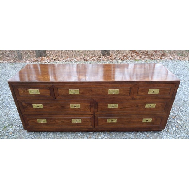 Brass Vintage Henredon Campaign Oak Dresser Chest of Drawers For Sale - Image 7 of 13