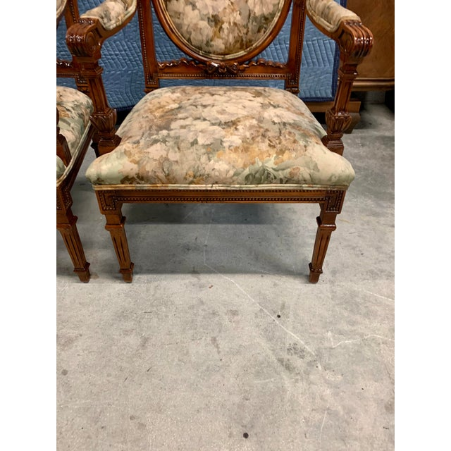 1920s Vintage French Louis XVI Solid Mahogany Accent Chairs or Bergère Chairs - a Pair For Sale - Image 11 of 13