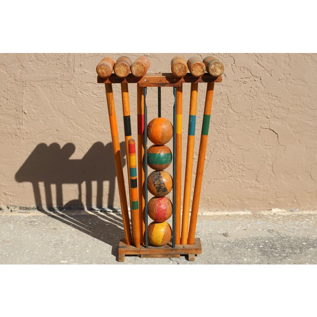 Metal Vintage Wooden Croquet Set With Rack For Sale - Image 7 of 8