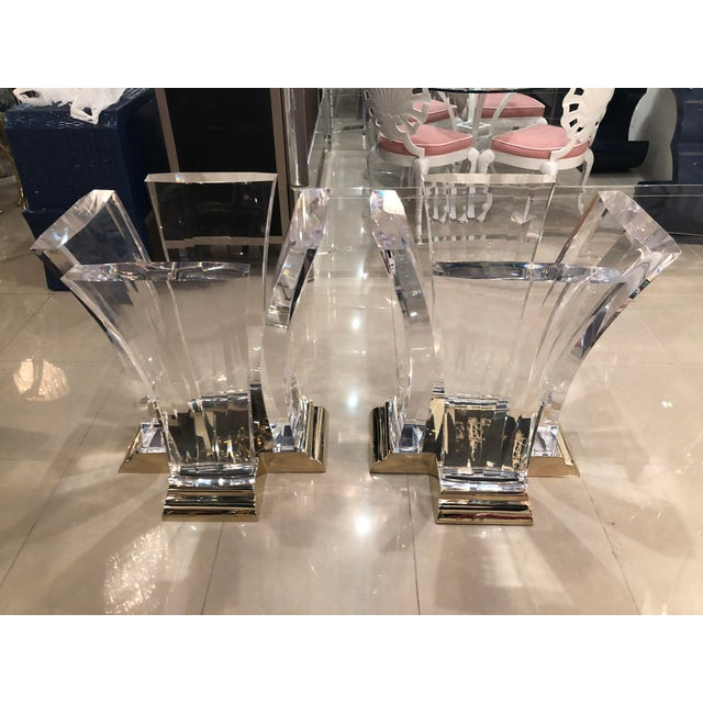 Vintage Jeffrey Bigelow Hollywood Regency Lucite and Brass Dining Table Bases - A Pair For Sale - Image 13 of 13
