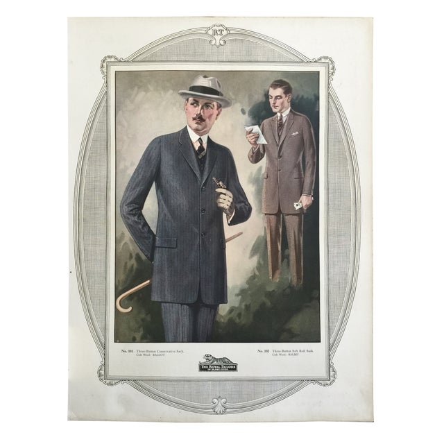 Original color lithograph poster for a tailor's shop from 1923. Unframed. Wear commensurate with age.