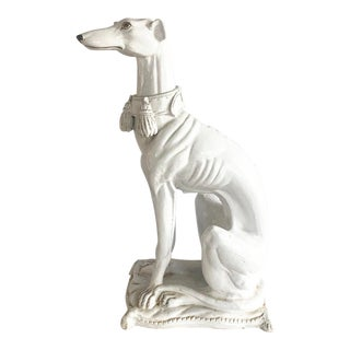 Large Scale Vintage Italian Whippet Dog Sculpture With Tassel Collar Sitting on Pillow For Sale