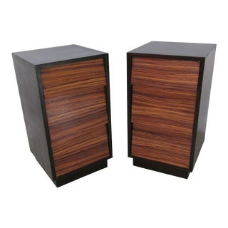 1940s Nightstands With Tigerwood Attributed to Modernage-a Pair For Sale